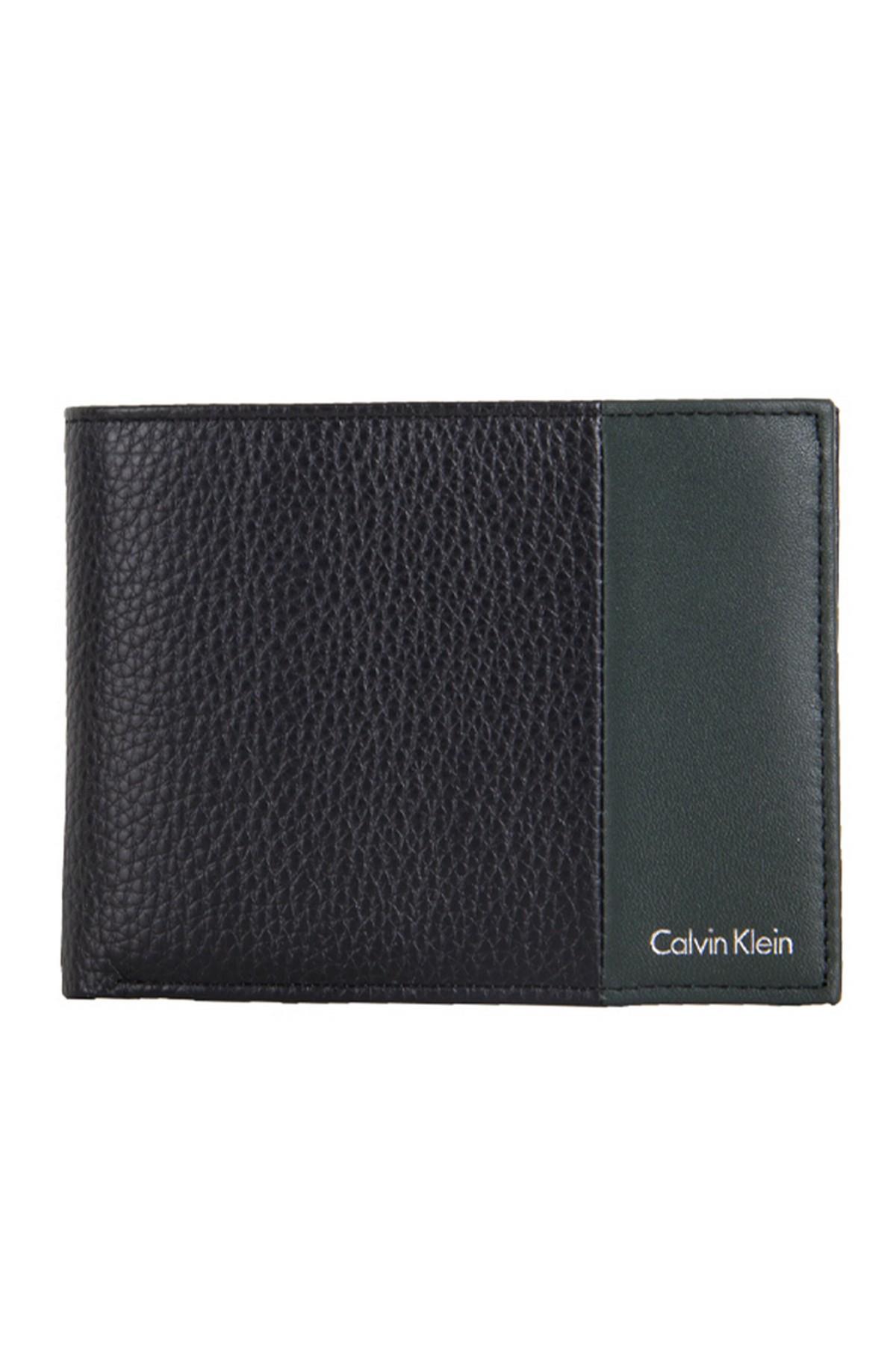 Calvin Klein Erkek Cüzdan/ Kartlık - Siyah/Yeşil (KM0KM0037693)
