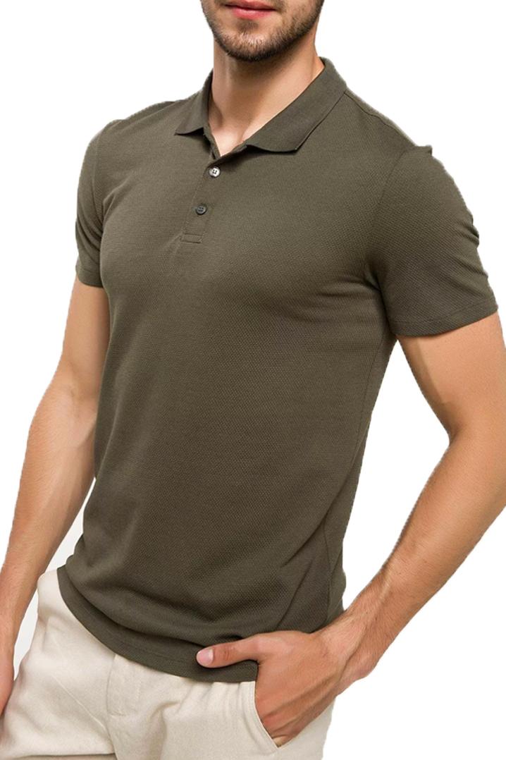 Loç Polo Yaka Runner T-Shirt Haki (PLMTHE08)