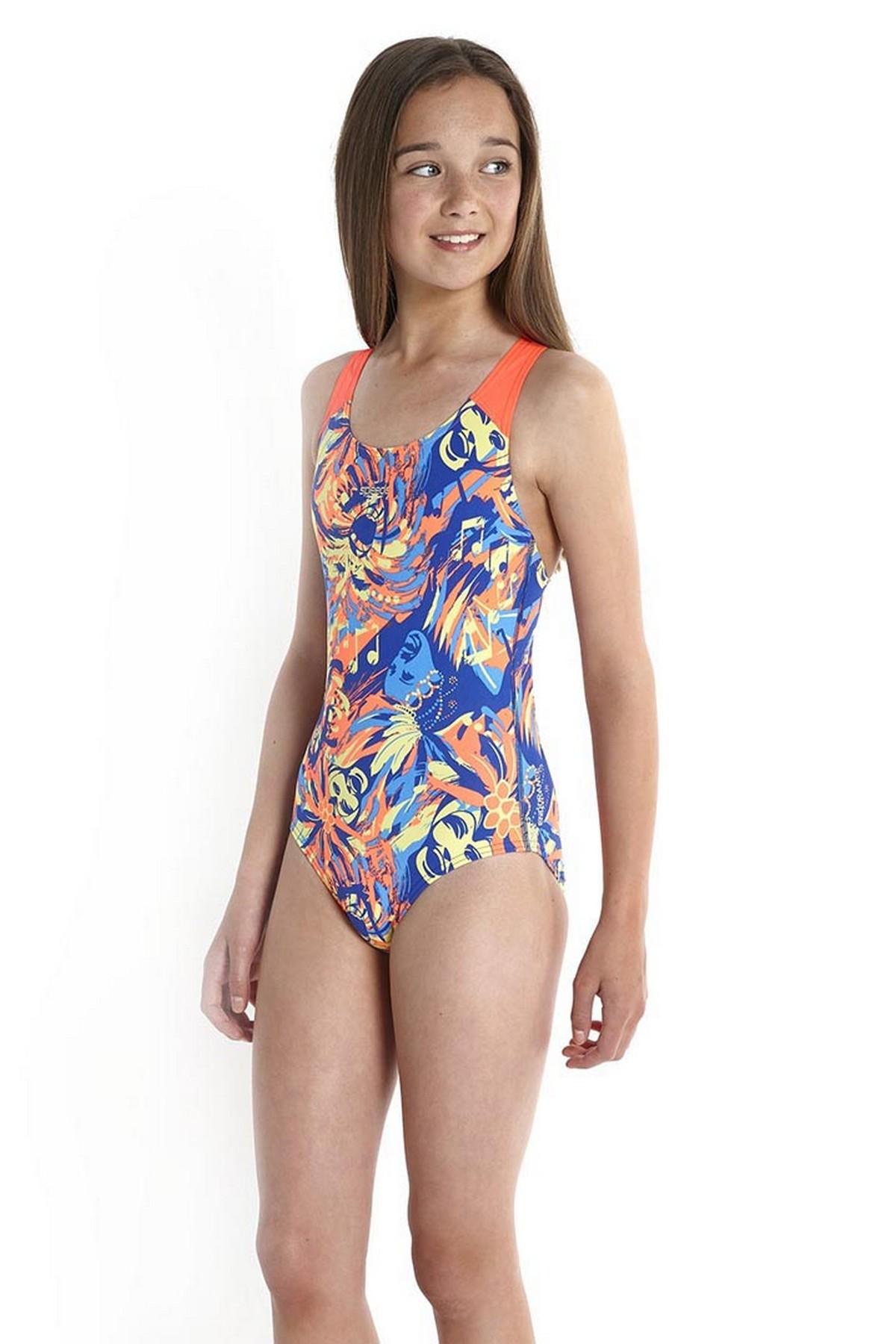 Speedo Koleido Splashback Kız Çocuk Yüzücü Mayosu Çoklu Renk (8-07386A728)